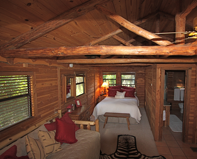 lovely open floor plan cabins #8: ... from the main home and has a kitchenette (small refrigerator and  microwave) with breakfast bar that seats 4, a living and bedroom area (open  floor plan) ...